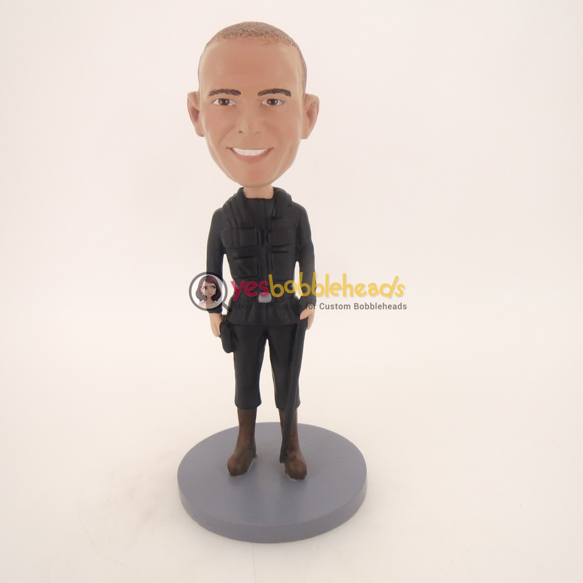 Picture of Custom Bobblehead Doll: Military Armed Man In Black