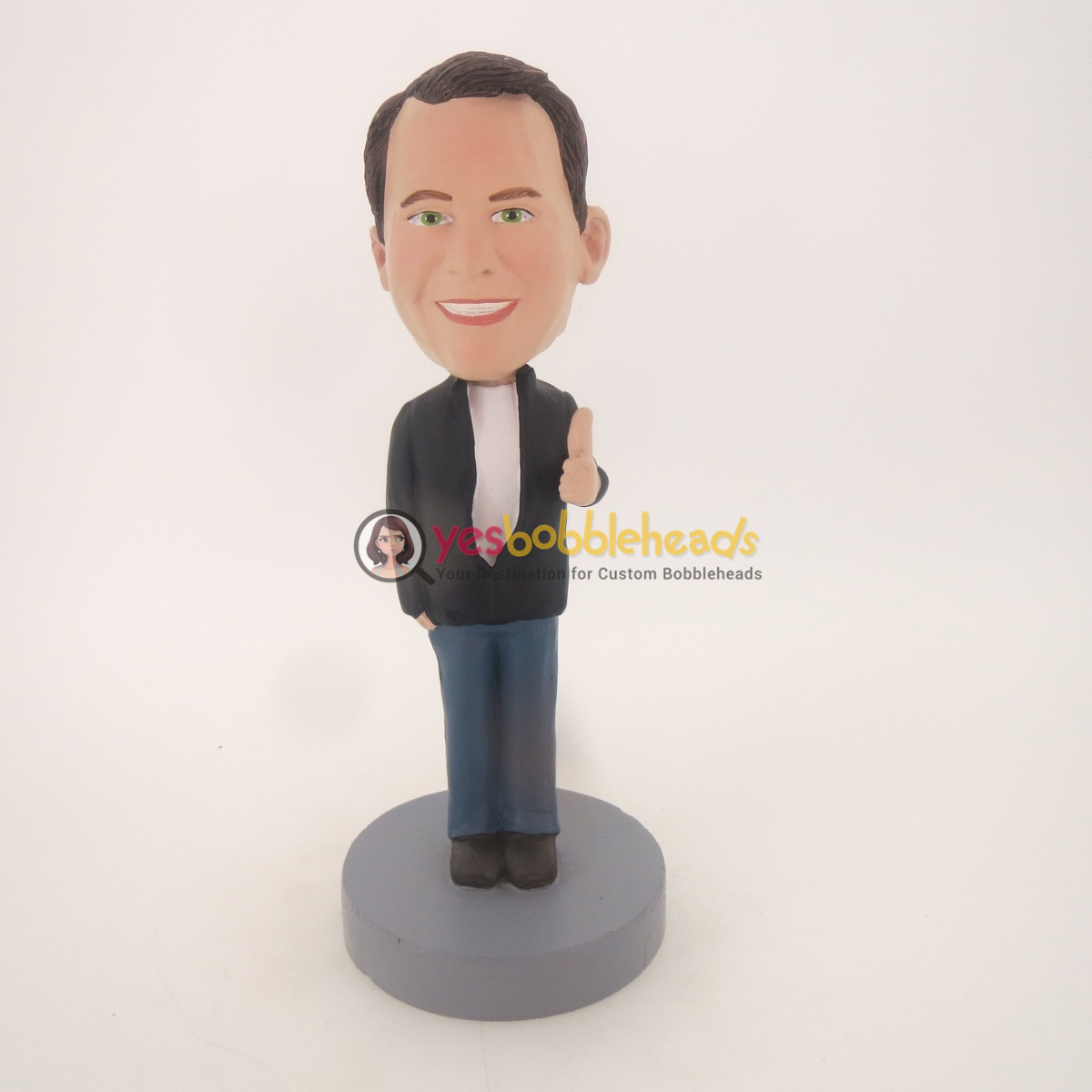 Picture of Custom Bobblehead Doll: Black Man With Thumb Up