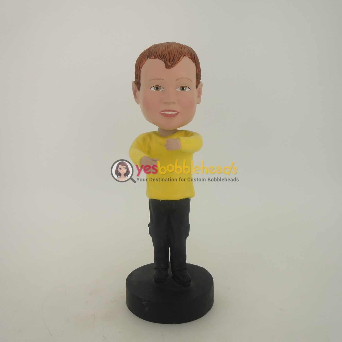 Picture of Custom Bobblehead Doll: Boy In Yellow With Holding Gesture