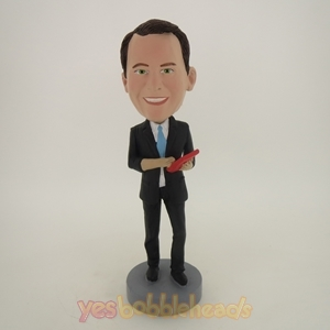 Picture of Custom Bobblehead Doll: Business Man Holding Calculator
