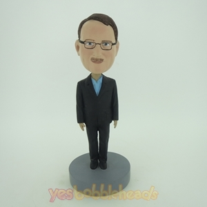 Picture of Custom Bobblehead Doll: Business Man In Black Stand Still