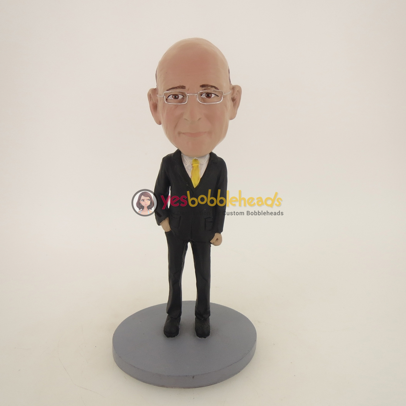 Picture of Custom Bobblehead Doll: Business Man In Black Suit And Yellow Tie