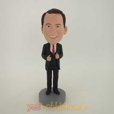 Picture of Custom Bobblehead Doll: Business Man In Nice Suit And Red Tie