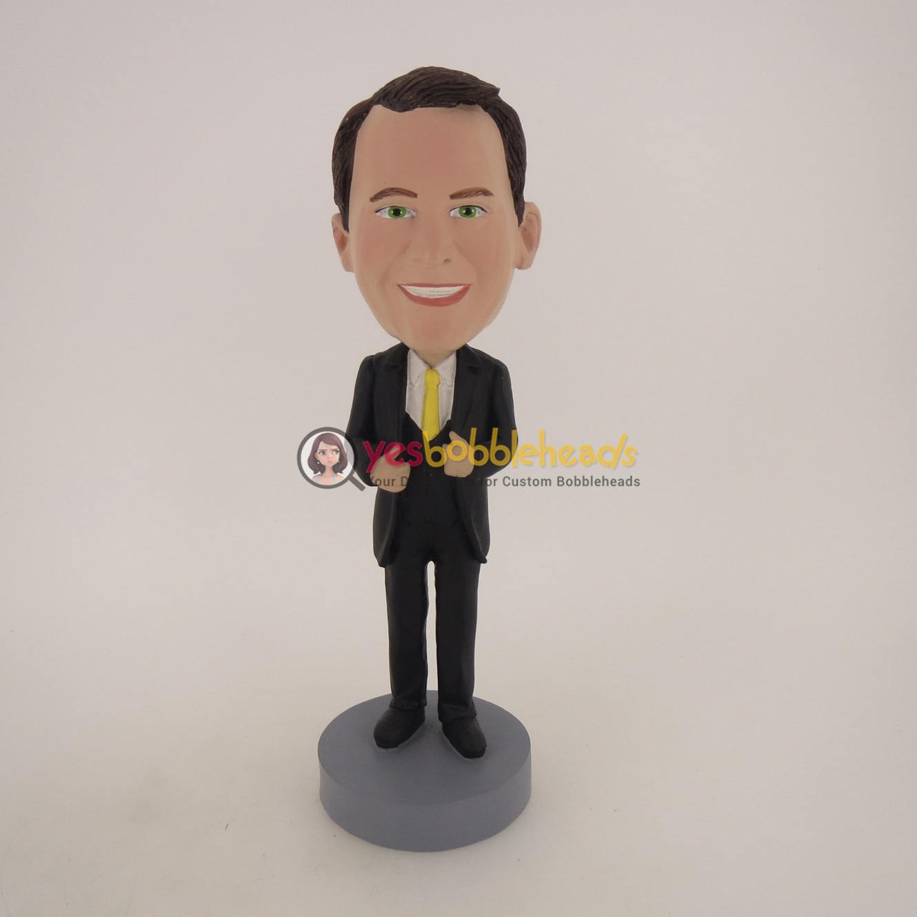 Picture of Custom Bobblehead Doll: Business Man In Nice Suit And Yellow Tie