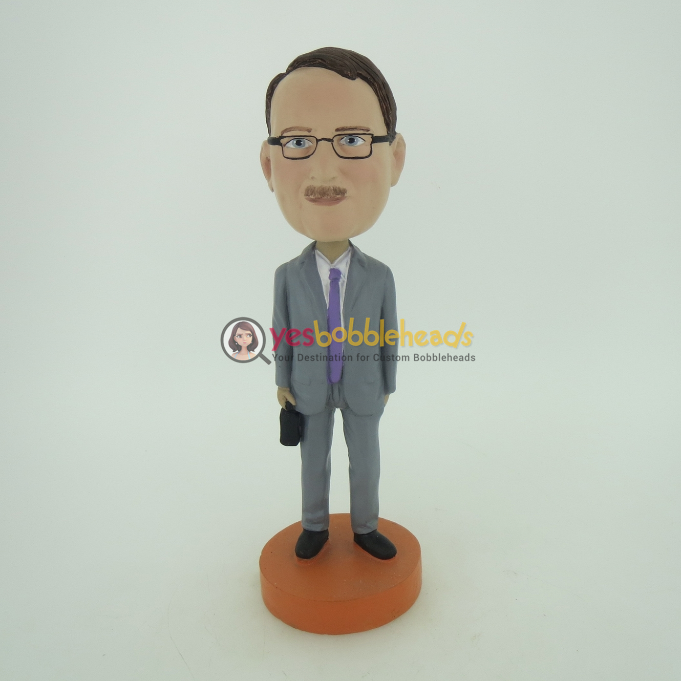 Picture of Custom Bobblehead Doll: Business Man With A Case In Hand
