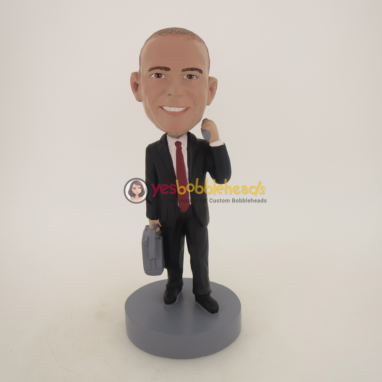 Picture of Custom Bobblehead Doll: Business Man With Phone And Suitcase