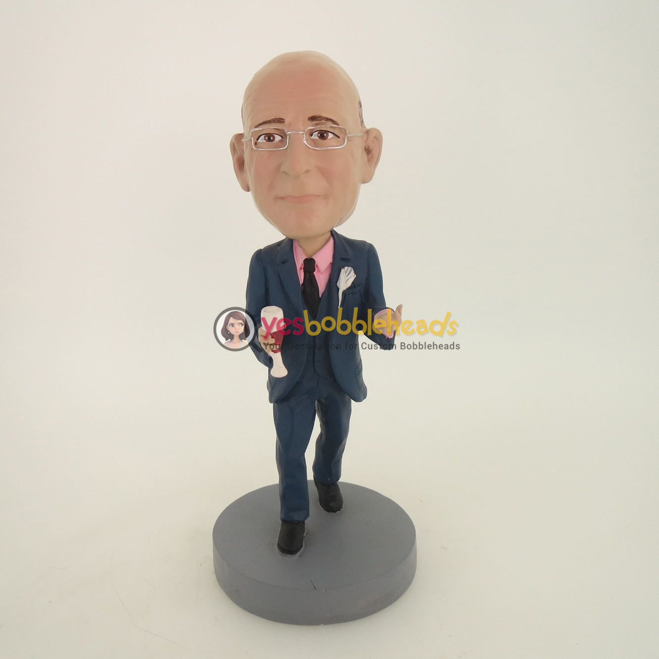 Picture of Custom Bobblehead Doll: Business Man With Red Wine