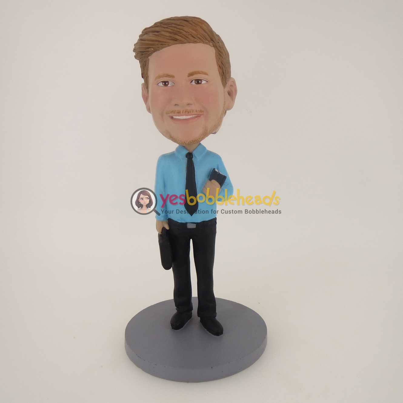 Picture of Custom Bobblehead Doll: Business Man With Something In Both Hands