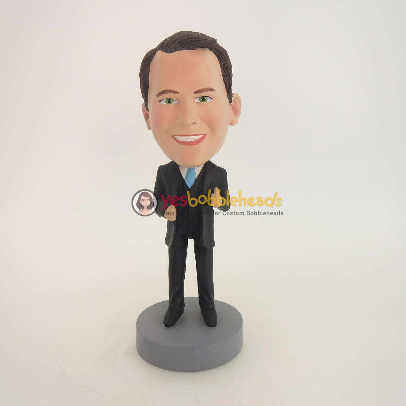Picture of Custom Bobblehead Doll: Business Man With Thumb Up