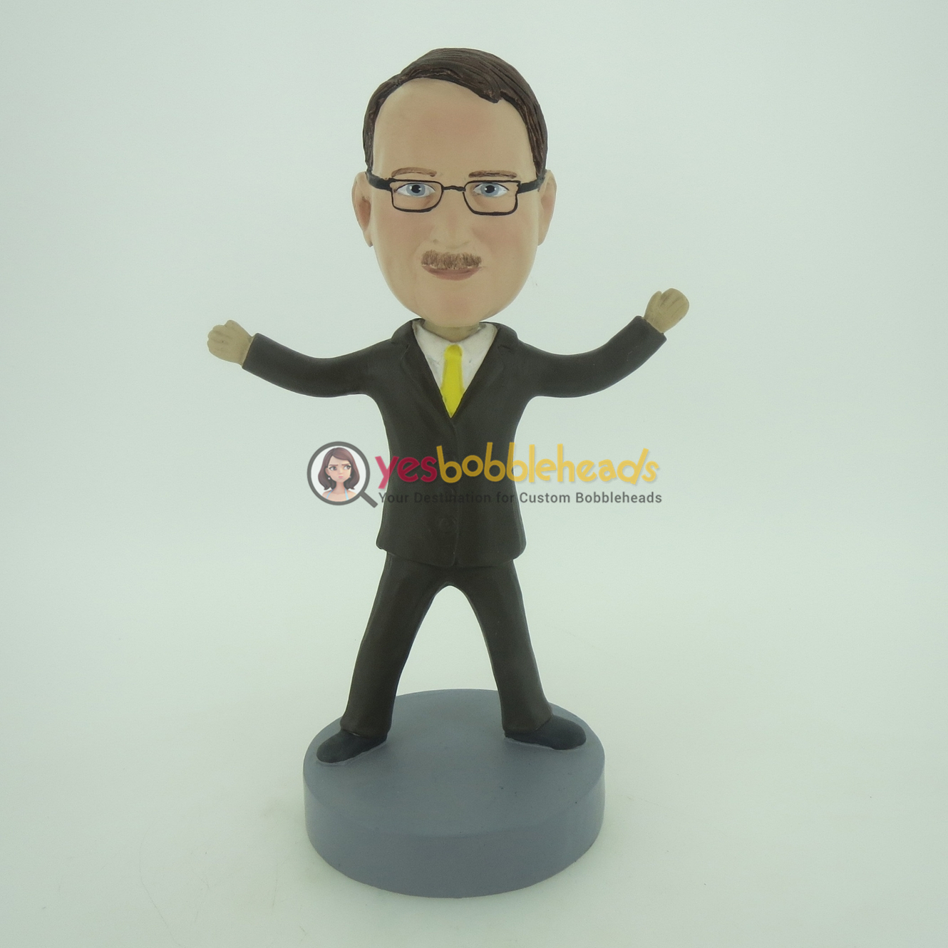 Picture of Custom Bobblehead Doll: Business Man With Yellow Tie Standing Out