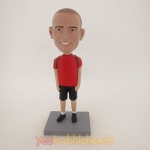 Picture of Custom Bobblehead Doll: Casual Boy With School Bag