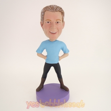 Picture of Custom Bobblehead Doll: Casual Man Enjoying Excercising