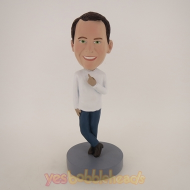 Picture of Custom Bobblehead Doll: Casual Man Finger Up