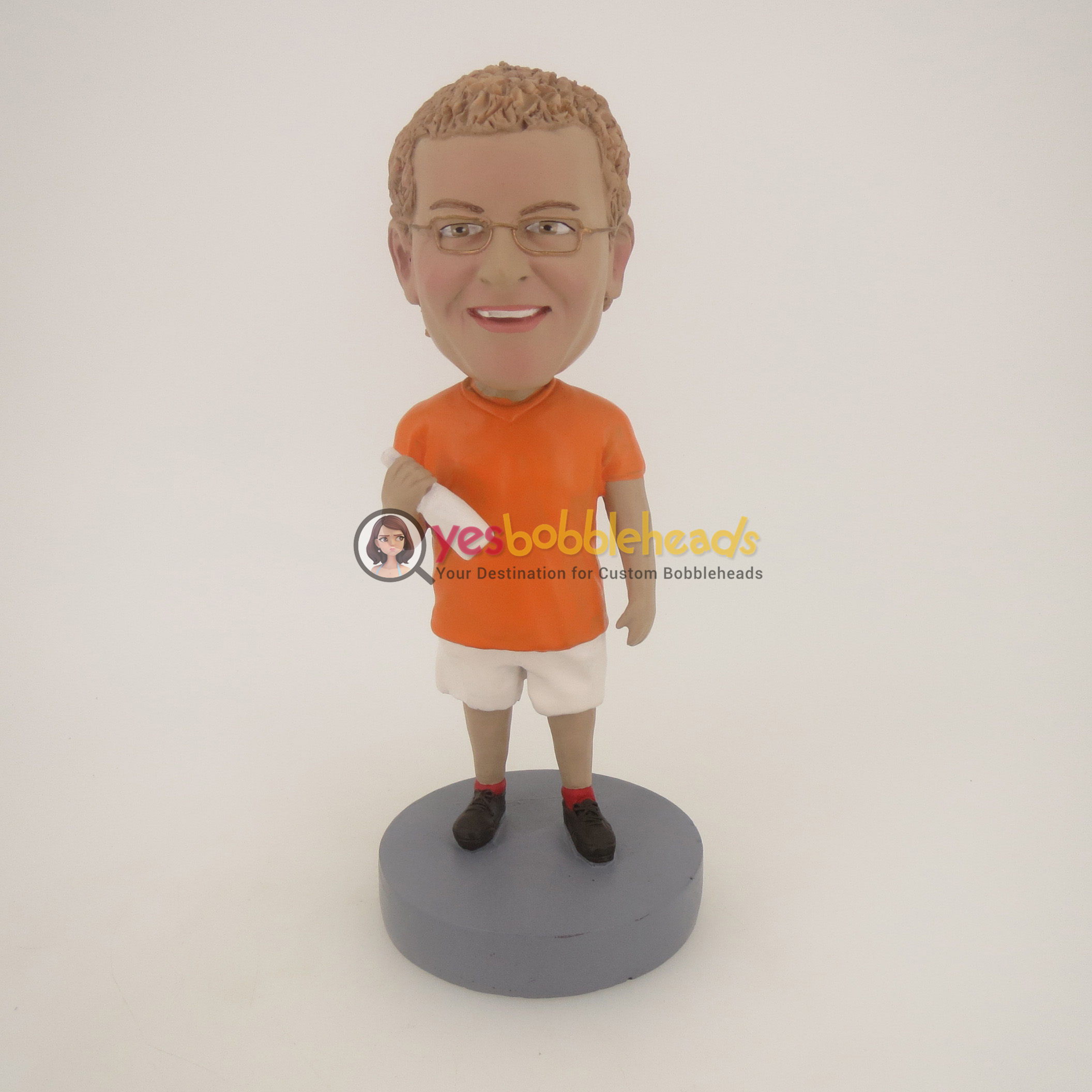 Picture of Custom Bobblehead Doll: Casual Man Happily Enjoy Drink
