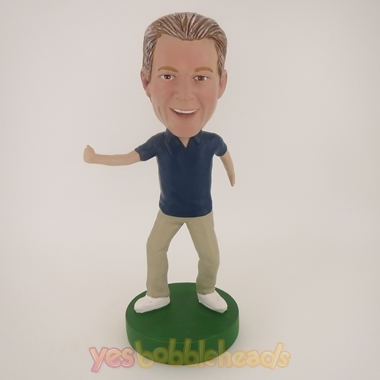 Picture of Custom Bobblehead Doll: Casual Man Happily Excercising
