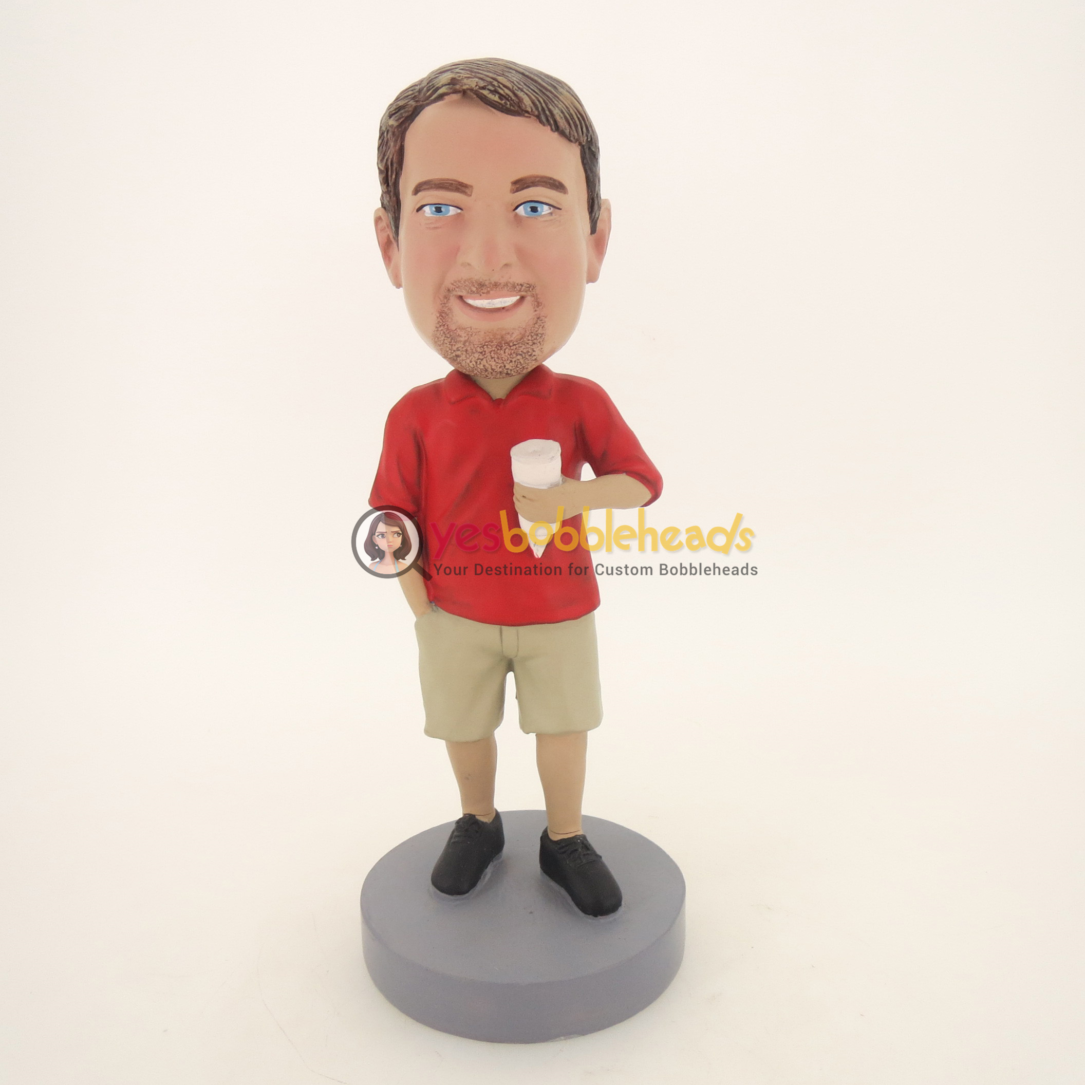Picture of Custom Bobblehead Doll: Custom Bobblehead Doll: Casual Man Having Ice Cream