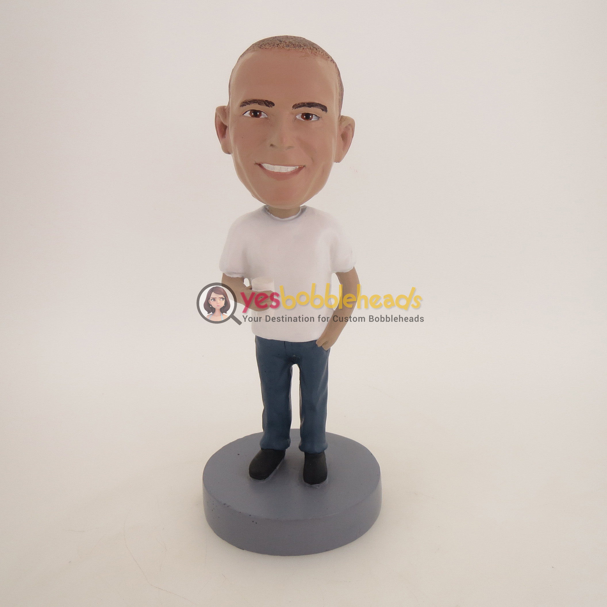 Picture of Custom Bobblehead Doll: Casual Man Having Milk