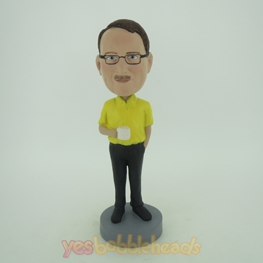 Picture of Custom Bobblehead Doll: Casual Man Holding A Cup