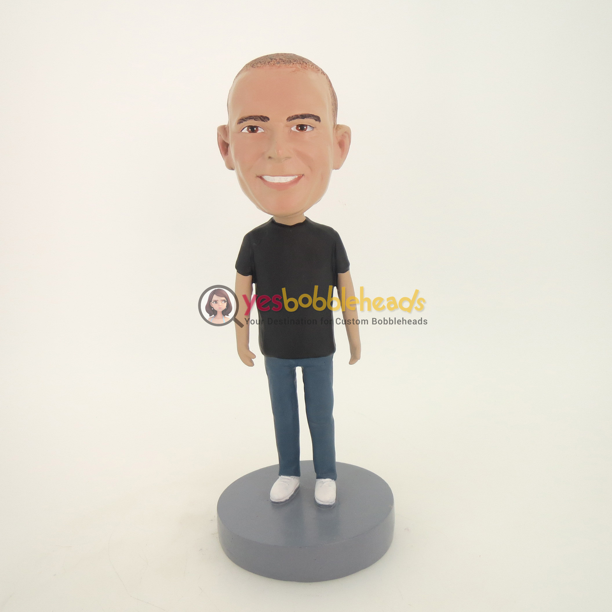 Picture of Custom Bobblehead Doll: Casual Man In Black Shirt