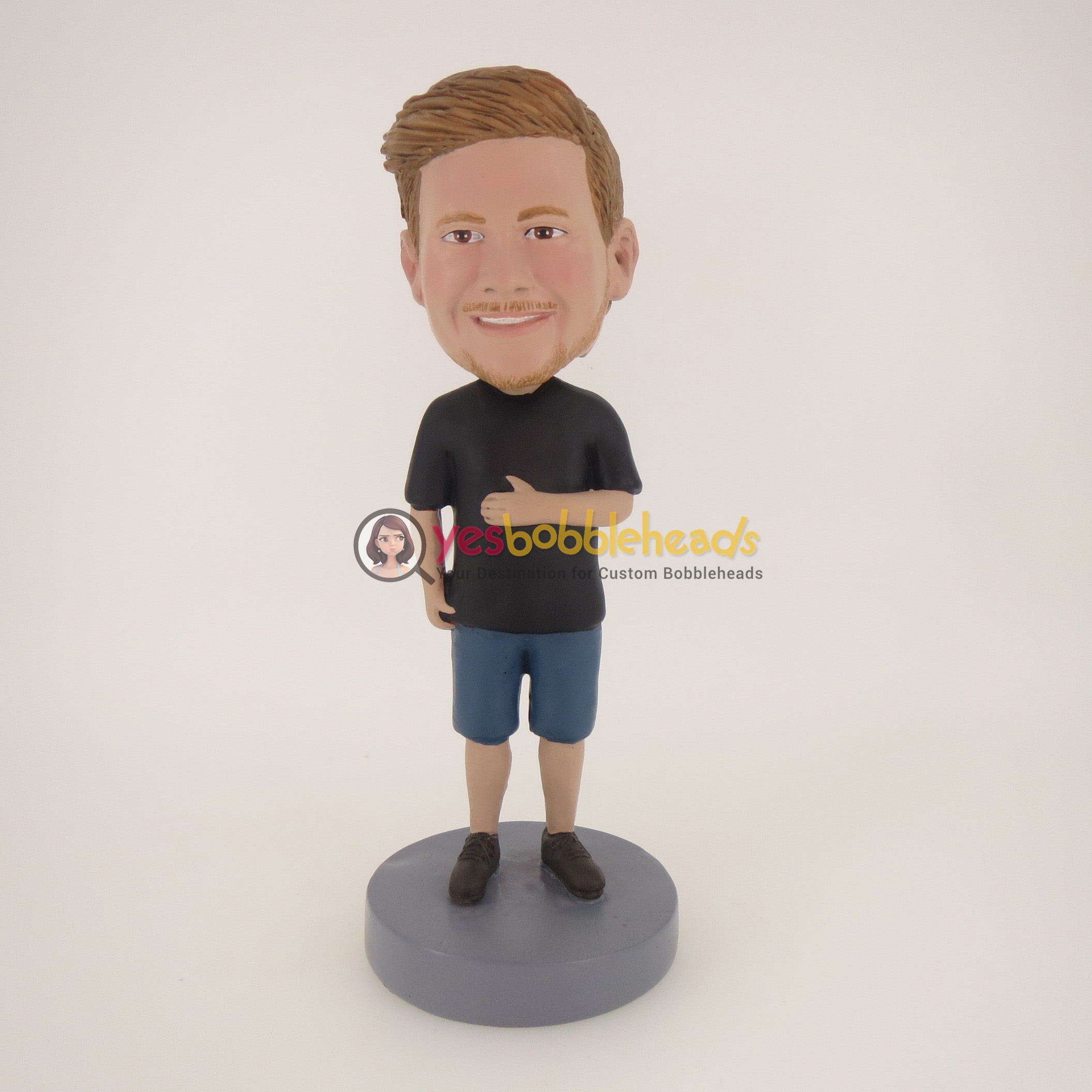 Picture of Custom Bobblehead Doll: Casual Man In Black TShirt