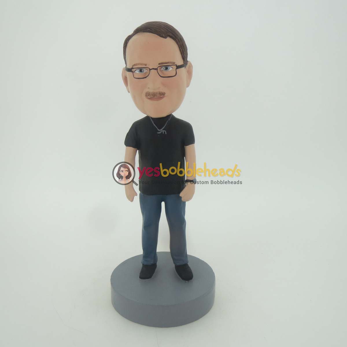 Picture of Custom Bobblehead Doll: Casual Man In Black Wearing Glass