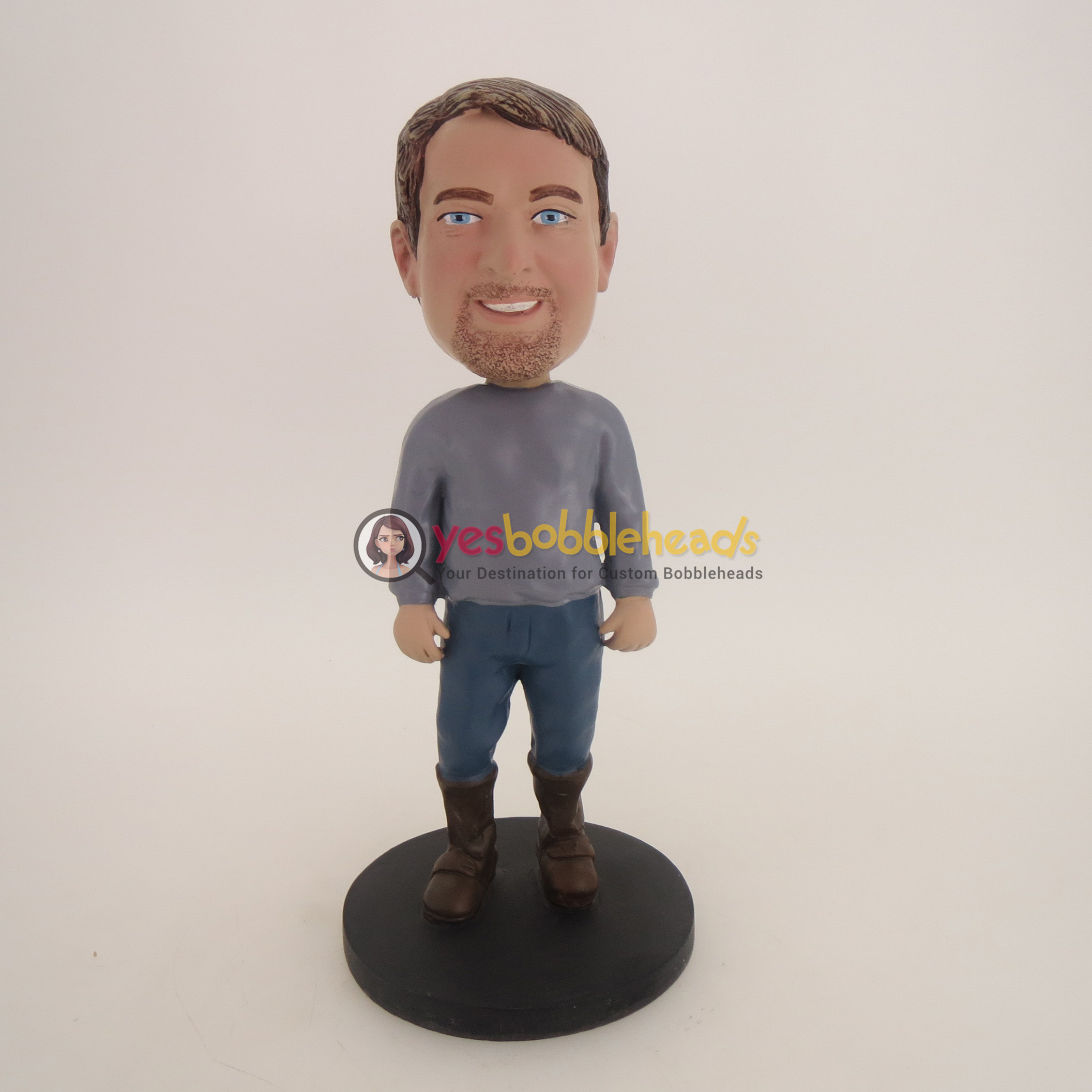 Picture of Custom Bobblehead Doll: Casual Man In Boot
