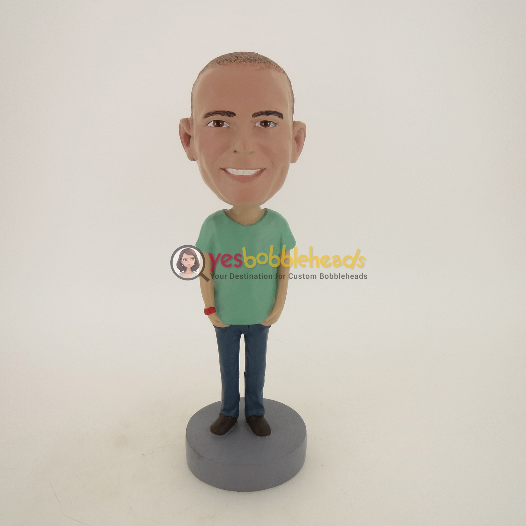 Picture of Custom Bobblehead Doll: Casual Man In Green And Blue