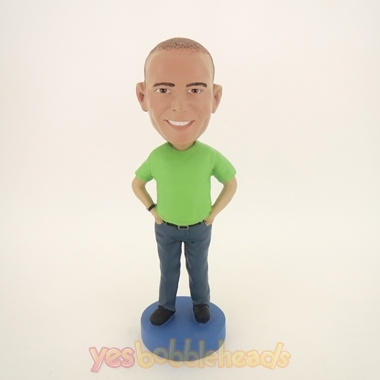 Picture of Custom Bobblehead Doll: Casual Man In Light Green