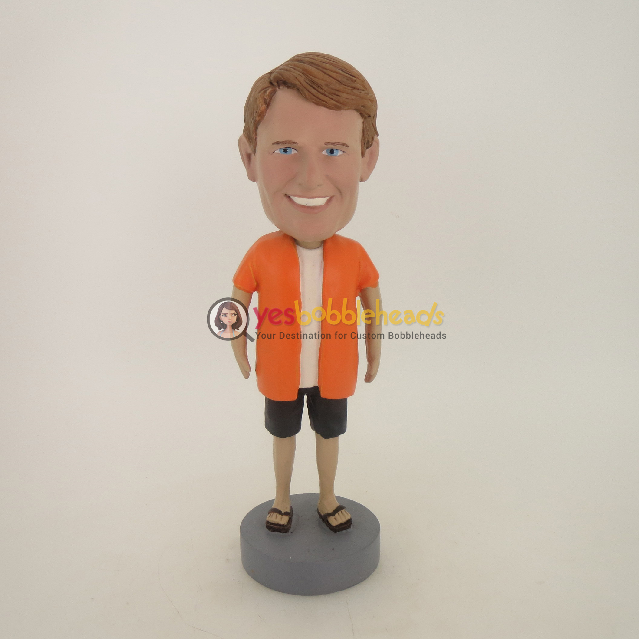 Picture of Custom Bobblehead Doll: Casual Man In Orange Shirt