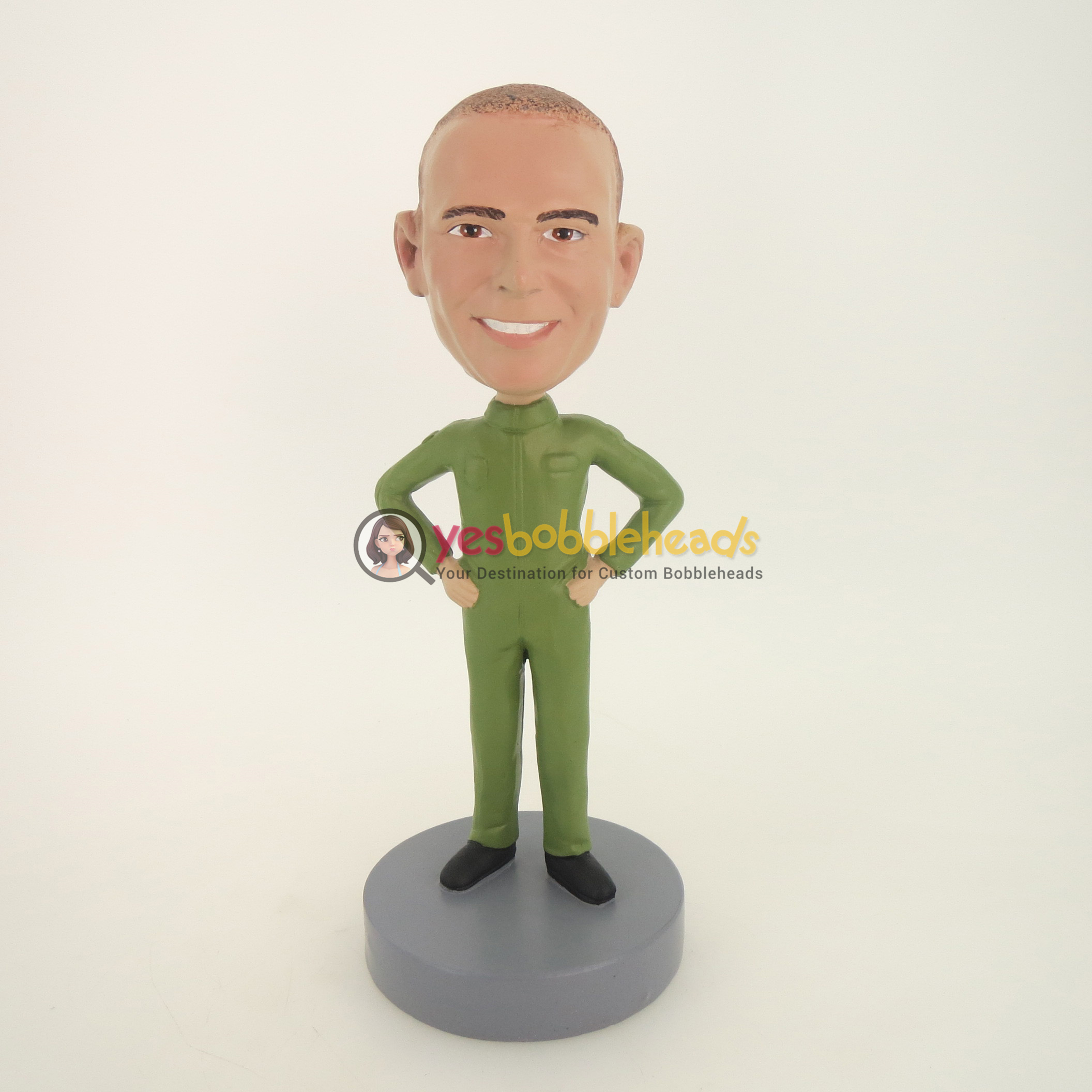 Picture of Custom Bobblehead Doll: Casual Man In Pure Green