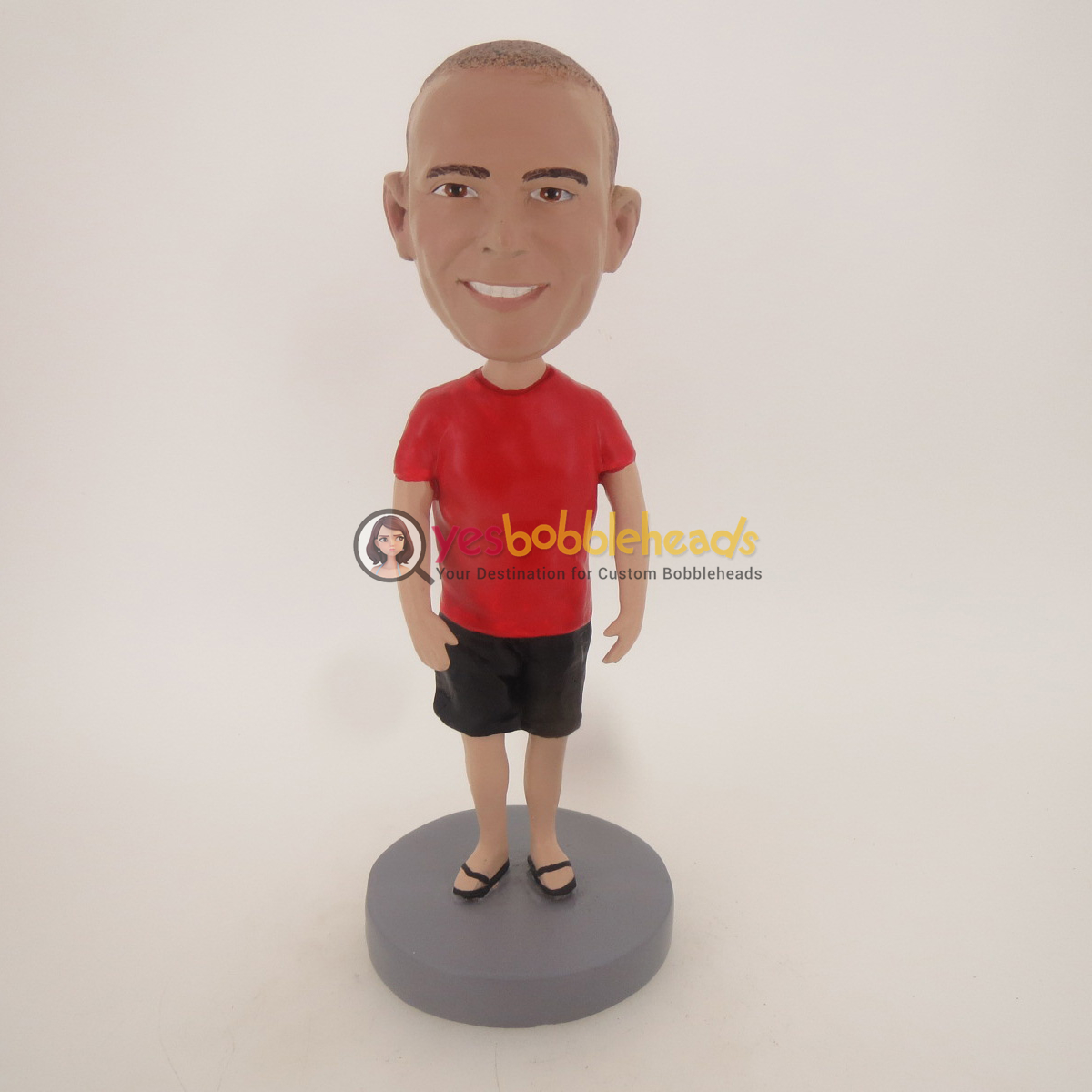Picture of Custom Bobblehead Doll: Casual Man In Red and Black