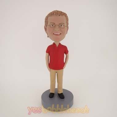 Picture of Custom Bobblehead Doll: Casual Man In Red And Brown