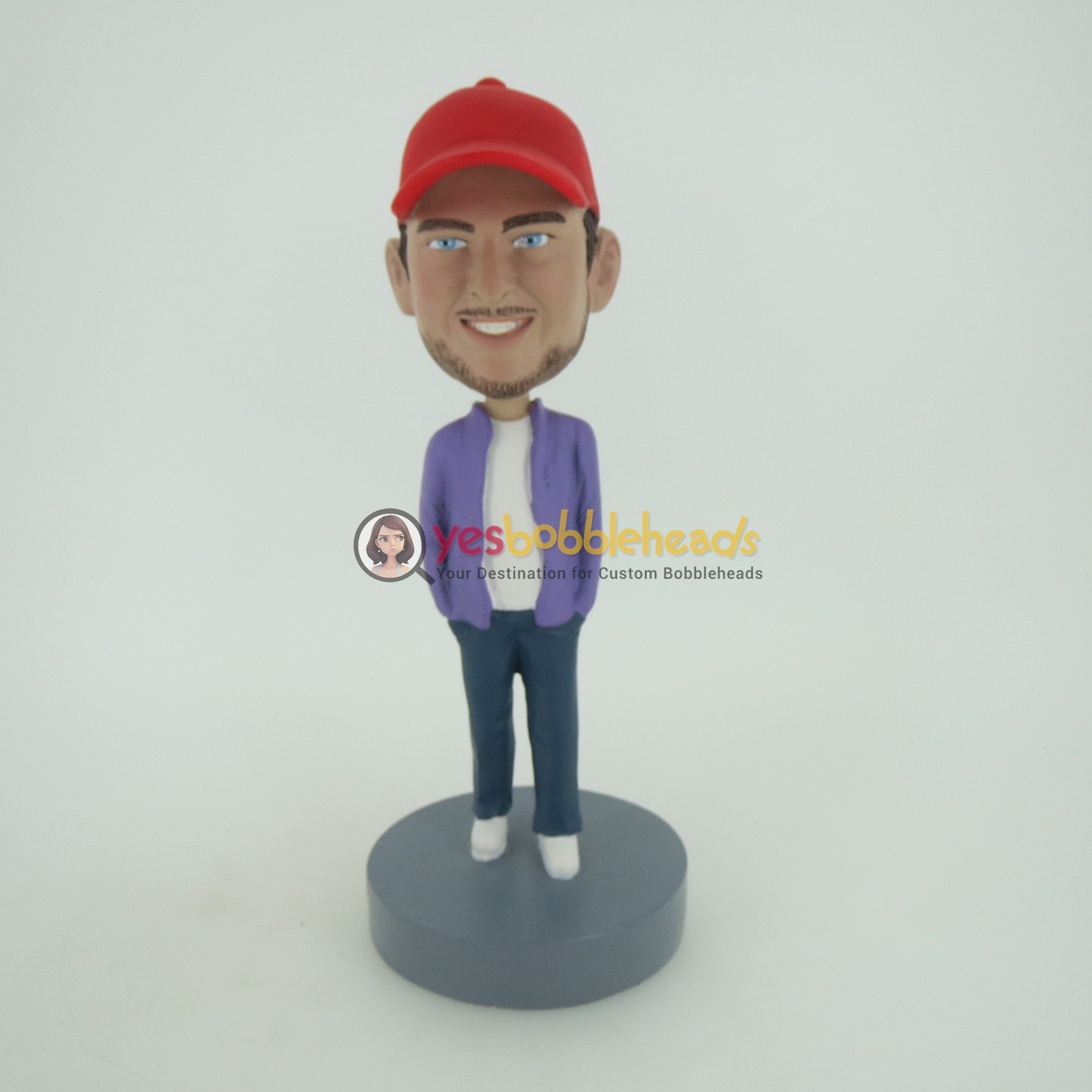 Picture of Custom Bobblehead Doll: Casual Man In Red Hat With Hands In Pockets
