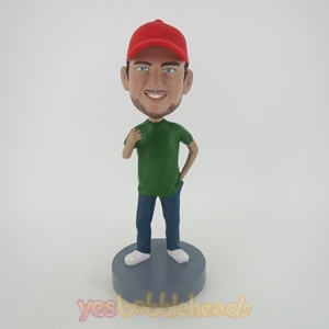 Picture of Custom Bobblehead Doll: Casual Man In Red Hat