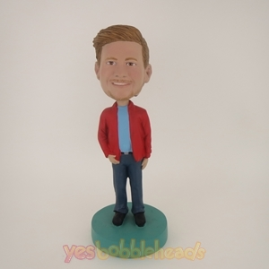 Picture of Custom Bobblehead Doll: Casual Man In Red Jacket