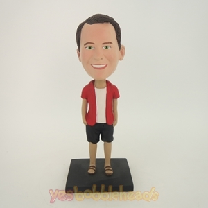 Picture of Custom Bobblehead Doll: Casual Man In Short Red TShirt