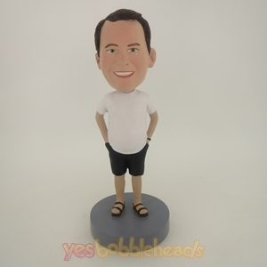 Picture of Custom Bobblehead Doll: Casual Man In Short TShirt And Jeans