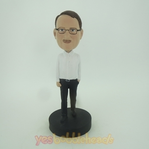 Picture of Custom Bobblehead Doll: Casual Man In White And Black