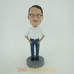 Picture of Custom Bobblehead Doll: Casual Man In White And Blue