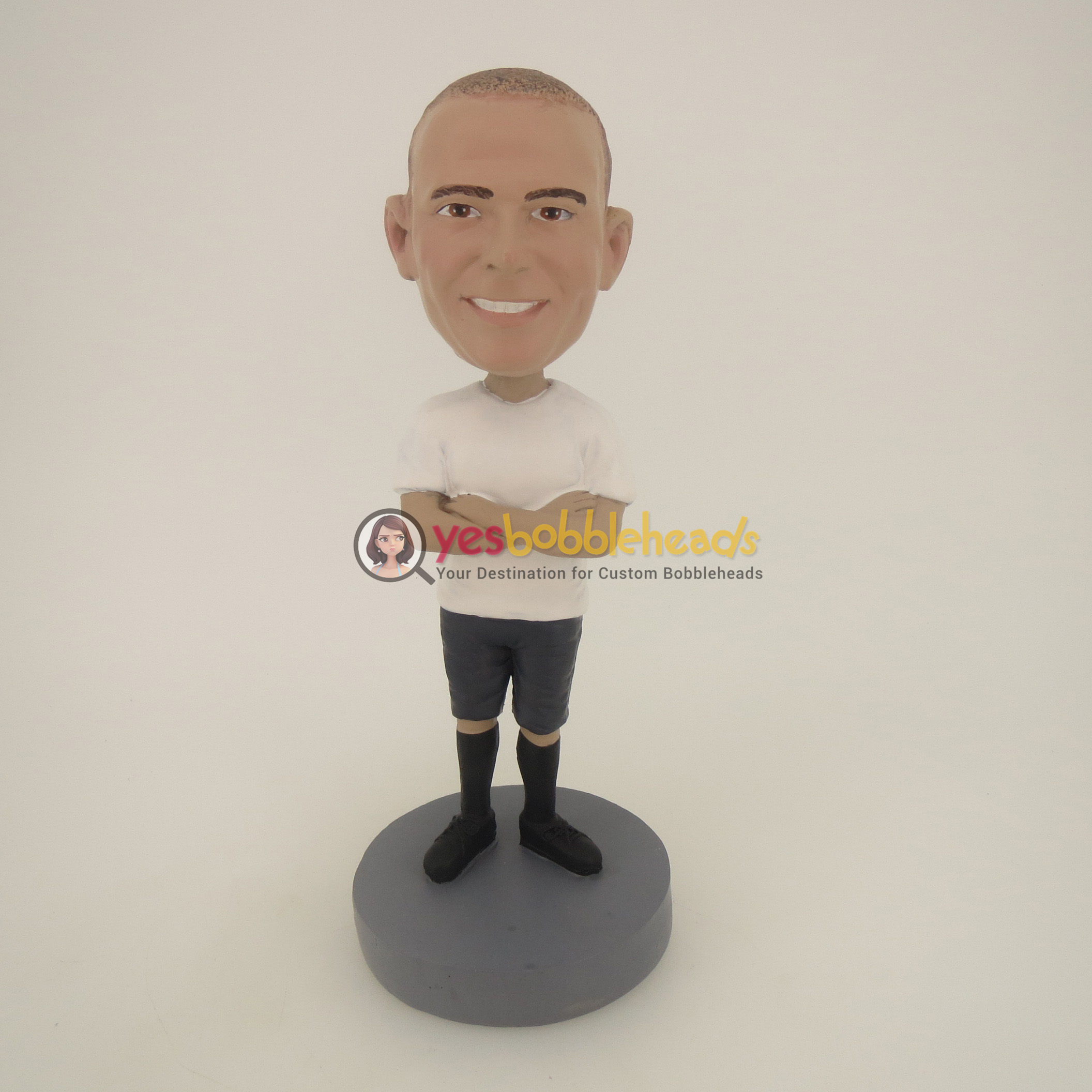 Picture of Custom Bobblehead Doll: Casual Man In White With Hands On The Chest