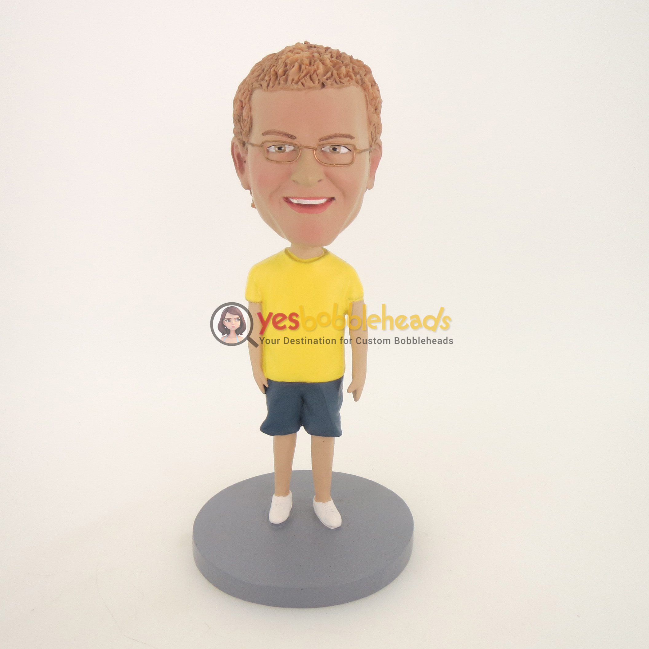 Picture of Custom Bobblehead Doll: Casual Man In Yellow and Blue