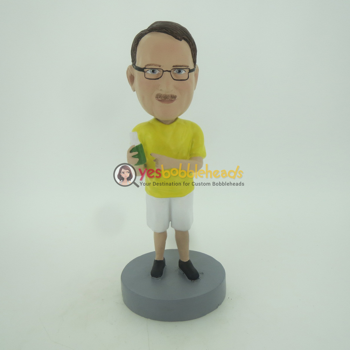 Picture of Custom Bobblehead Doll: Casual Man In Yellow Having Drink