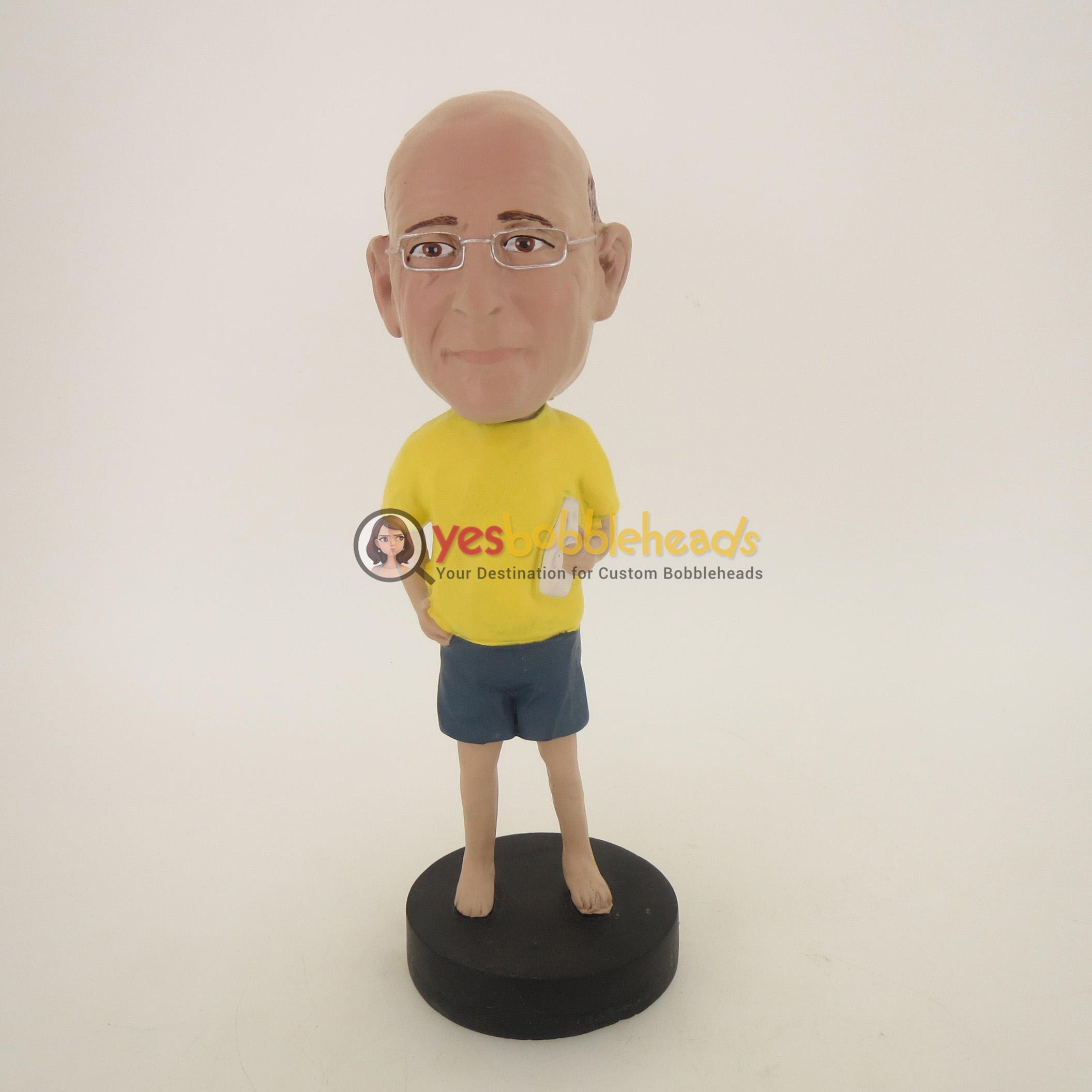 Picture of Custom Bobblehead Doll: Casual Man In Yellow Having Drinks