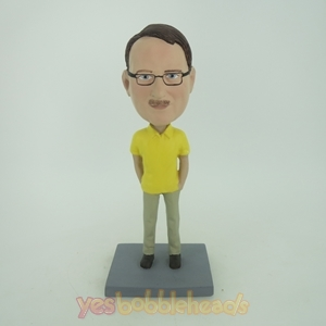Picture of Custom Bobblehead Doll: Casual Man In Yellow Short TShirt