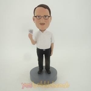 Picture of Custom Bobblehead Doll: Casual Man Playing Cards