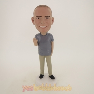 Picture of Custom Bobblehead Doll: Casual Man Waving Goodbye