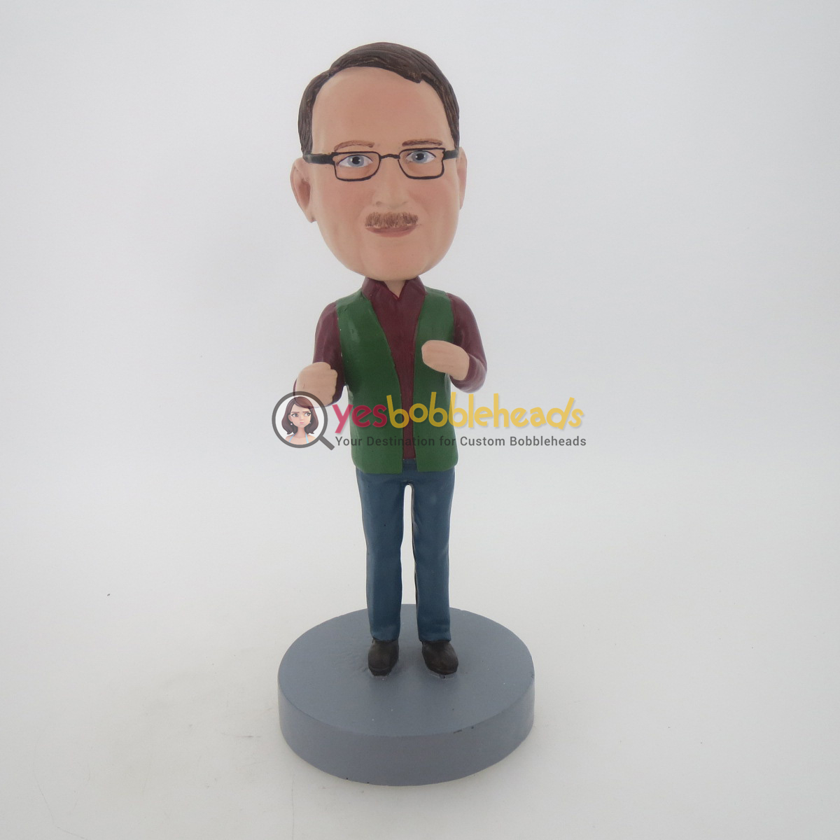 Picture of Custom Bobblehead Doll: Casual Man Wearing Glass