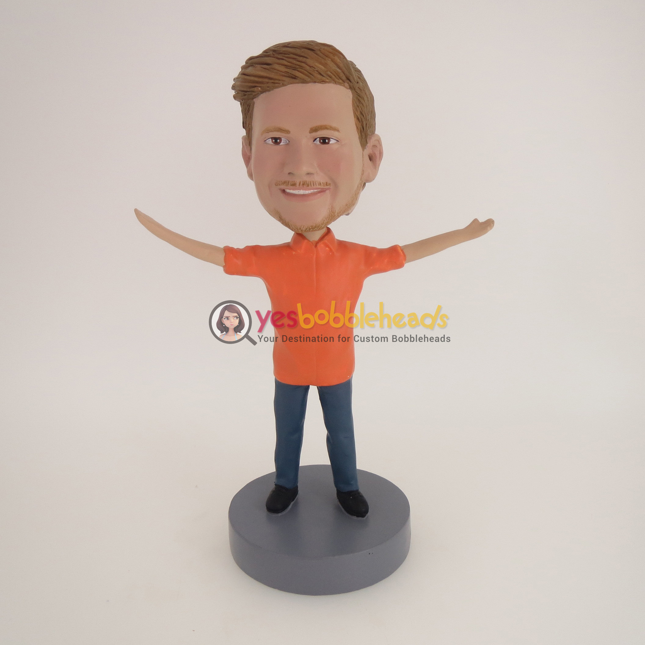 Picture of Custom Bobblehead Doll: Casual Man Welcoming