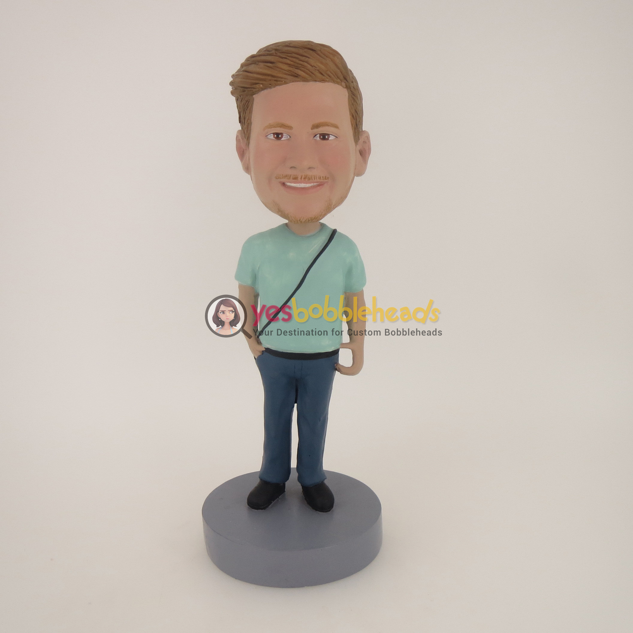 Custom Bobblehead Doll: Casual Man With A Bag - YesBobbleheads ...