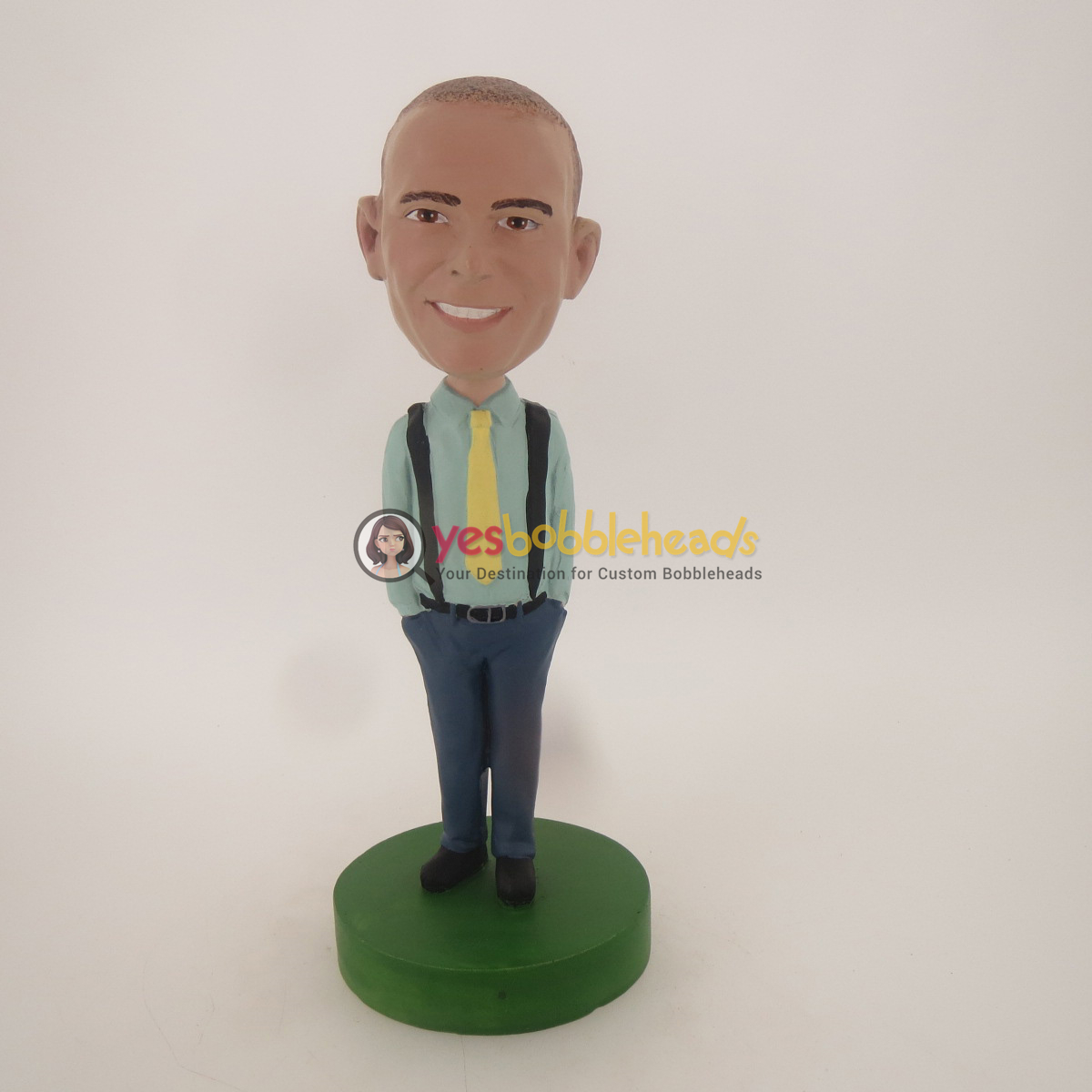 Picture of Custom Bobblehead Doll: Casual Man With A Yellow Tie